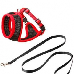 Cat Harness Set Black / Red 10mm