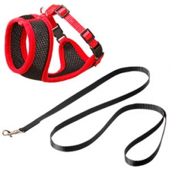 Cat Harness Set XXL Black/Red 15mm