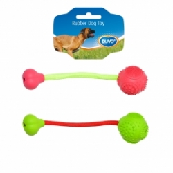 Dogtoy Rubber Dental Ball and Bone With Cord 6cm