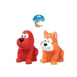 Dogtoy Latex Squawky Dog and Cat 10.5cm
