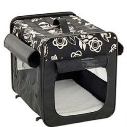Carr. Bag Soft Black Flor 35x31x27cm