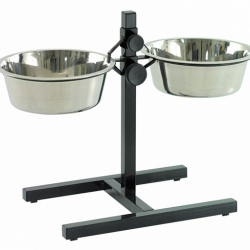 Stand H-foot 2 Bowls 24cm Black